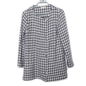 Anthropologie Paper Crown Gray Houndstooth Coat M
